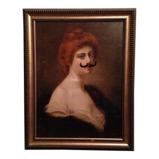 Henri Rondel Mustache Portrait Oil Painting on Canvas