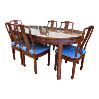 Mid 20th Century Chinese Rosewood Extension Table Dining Set - 7 Pieces For Sale