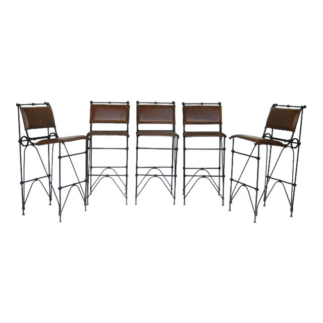 Set of Five Illana Goor Iron Bar Stools For Sale