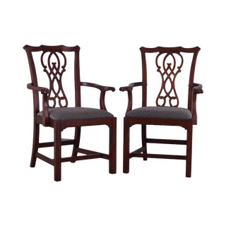 Bernhardt Design Chippendale Style Pair Mahogany Armchairs (A) For Sale