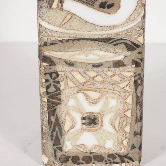 Ceramic Mid-Century Modernist Ceramic Danish Vase with Geometric Designs, Nils Thorsson For Sale - Image 7 of 9