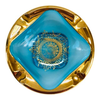 Hollywood Regency 22k Gold Filigree Turquoise Ashtray Catchall