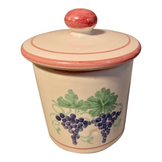 Mesa International Fruit Bouquet Jam Jar W/Lid 1989 Hand Crafted in Italy For Sale
