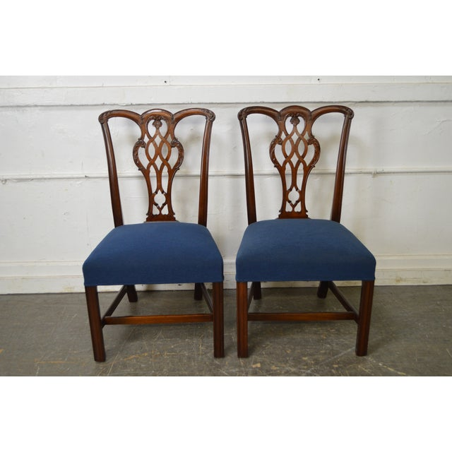 Chippendale Style Set of 8 Custom Mahogany Dining Chairs - Image 5 of 11