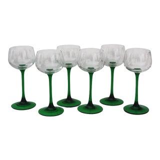 Mid-Century Green Stem Glasses - Set of 6