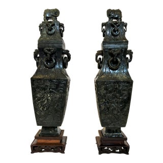 Pair Estate Chinese Spinach Jade Urns and Covers. For Sale
