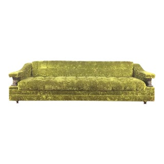 Vintage Green Velvet Upholstered Carved Wood Sofa
