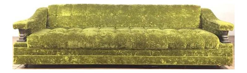 Vintage Green Velvet Upholstered Carved Wood Sofa