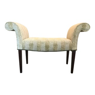 Vintage Mid-Century Edward Farrell Scroll Arm Bench For Sale