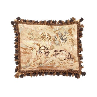 """Traditional Pasargad DC Poppy Needlepoint Pillow - 18"""" X 22"""" For Sale"""