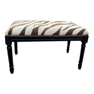 Vintage Neoclassical Zebra Needlepoint Covered Ottoman For Sale