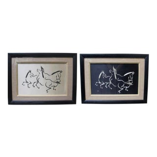 1960s Vintage Black and White Horse Textile Diptych - 2 Pieces For Sale