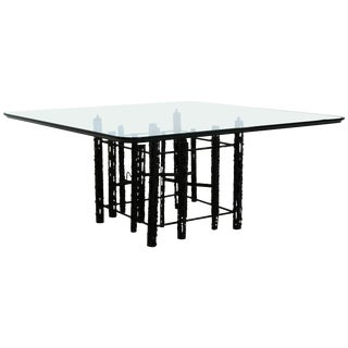 Mid-Century Modern Brutalist Square Coffee Table Glass, 1960s For Sale