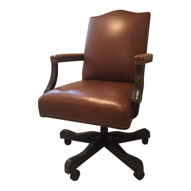 Ethan Allen Lee Leather Desk Chair For Sale