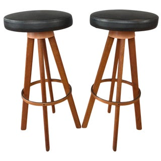 Pair of Hans Olsen Bar Stools for Frem Rojle Denmark For Sale