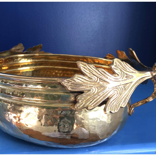 Hosley vintage solid brass planter with thick gorgeous leaf and stem handles. Perfect for fall decor. As depicted in the...