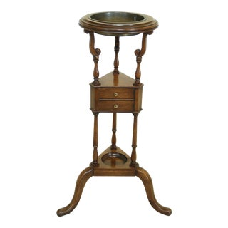 Baker Mahogany Basin Stand W. Brass Bowl Insert For Sale