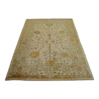 4x6 Rug Hand Knotted Turkish Area Rug Low Pile Oushak Rug For Sale