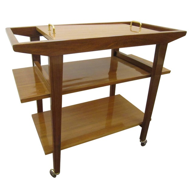French French Mid-Century Modern Walnut Bar Cart Trolley/ Server/ Biblio, Andre Sornay For Sale - Image 3 of 11