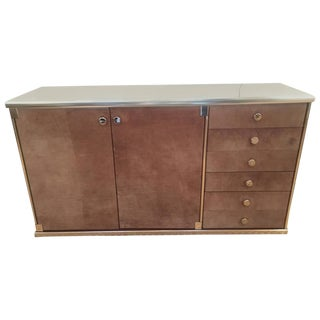 Hermes Style Suede and Chrome Credenza by Guido Faleschini