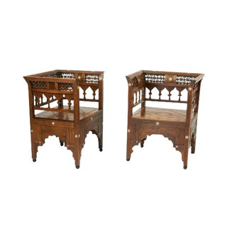North African Bone Inlaid Armchairs - a Pair For Sale