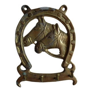 Vintage Brass Equestrian Lucky HorseShoe and Horse Heads With Hooks