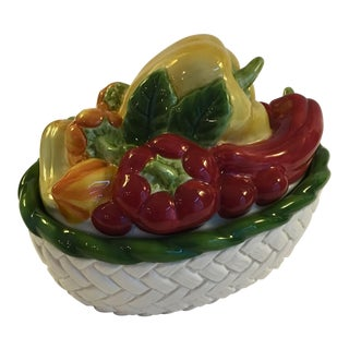 Mid 20th Century Fitz and Floyd Vegetable Motif Covered Dish For Sale