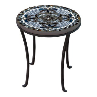 """Roma 18"""" Chaise Table with Black Iron Base For Sale"""