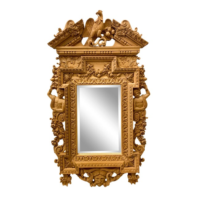 Monumental Neo-Classical Style Carved Mirror For Sale