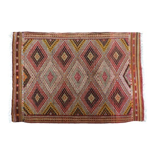Mid 20th Century Anatolia Turkish Nomads Kilim Embroidered- 5′1″ × 7′5″ For Sale