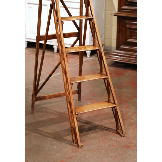 19th Century French Napoleon III Carved Walnut Folding Library Six-Step Ladder For Sale - Image 4 of 11