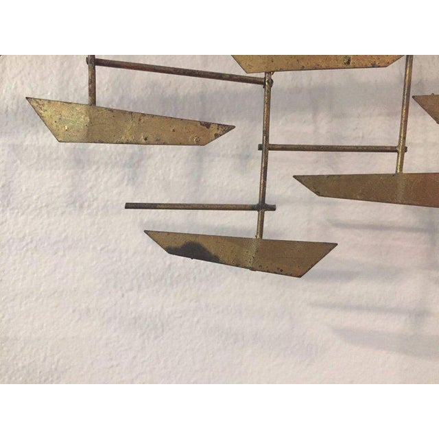 Brass Signed Curtis Jere Brutalist Wall Sculpture Village, Marina and Sailboats, 1970s For Sale - Image 7 of 8