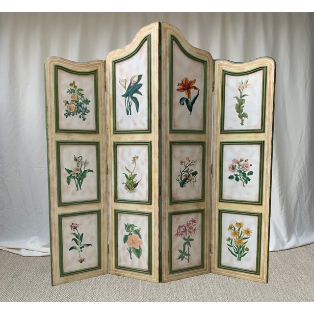 Vintage Early 20th Century French Hand-Painted Floral Botanical Wood Screen For Sale - Image 12 of 12