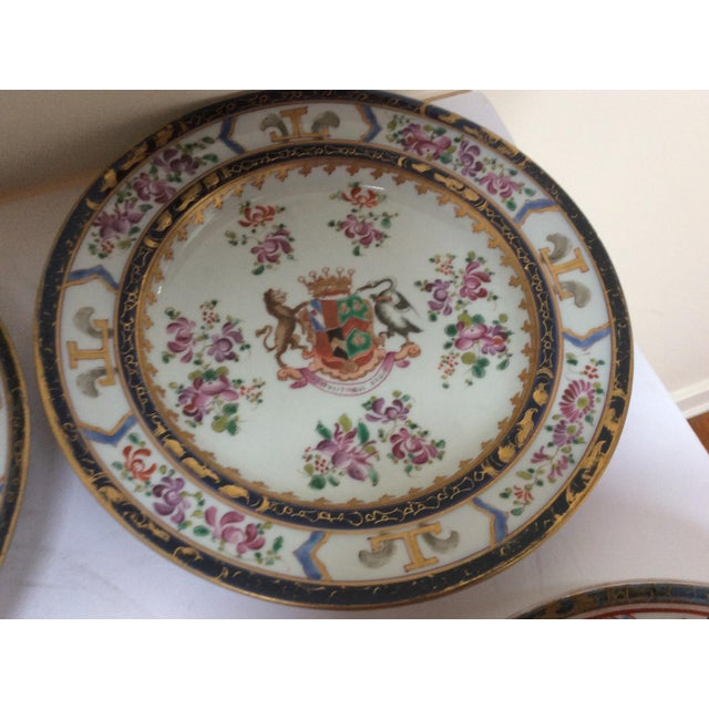 Ceramic French Chinese Export Style Armorial Plates - Set of 6 For Sale - Image 7 of 9