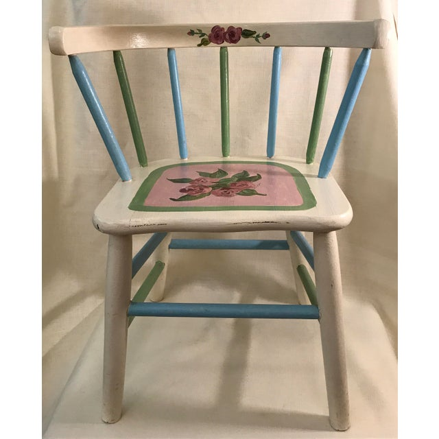 One of a kind hand painted and signed mid-century round back spindle chair. Solid wood, very sturdy! A seat height is...