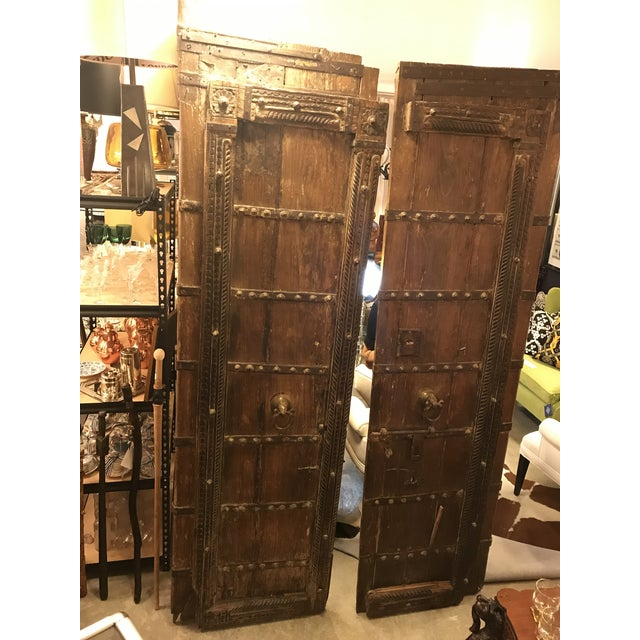 Late 19th Century Original Antique Salvaged Hand-Made Indian Doors For Sale - Image 5 of 12