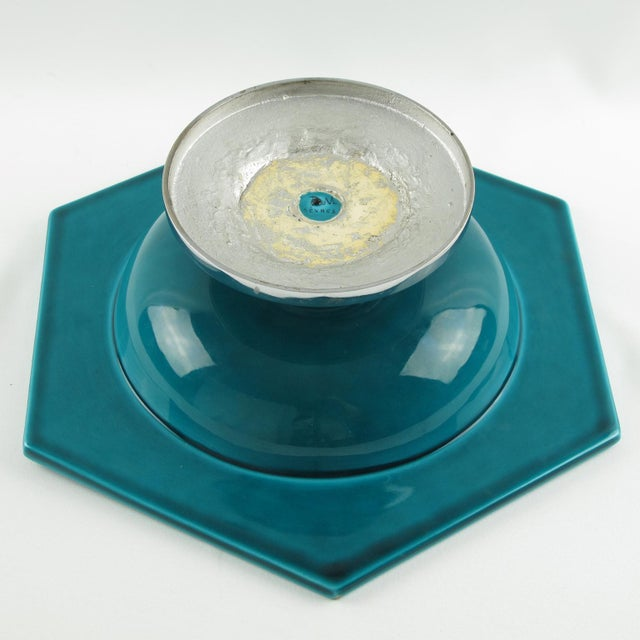 Turquoise Paul Milet for Sevres Art Deco Turquoise Ceramic Bowl For Sale - Image 8 of 9