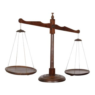 19th Century Primitive French Walnut Balance Scales For Sale