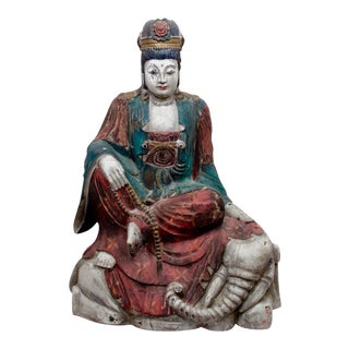 Carved Wood Bodhisattva Statue Quan Yin For Sale
