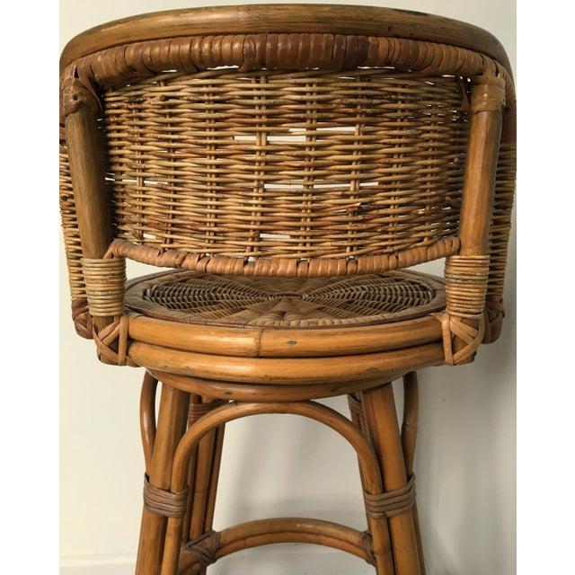 Vintage Boho Bamboo Swivel Counter Stools - A Pair - Image 5 of 6