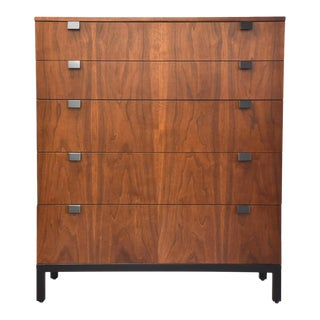 Milo Baughman for Directional Walnut Tall Dresser For Sale