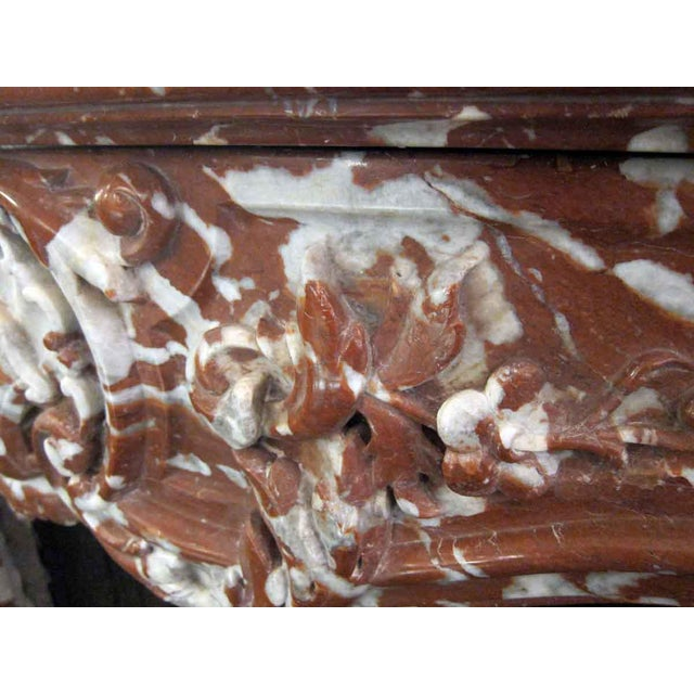 Italian Mixed Red Gray & White Marble Mantle For Sale - Image 9 of 9