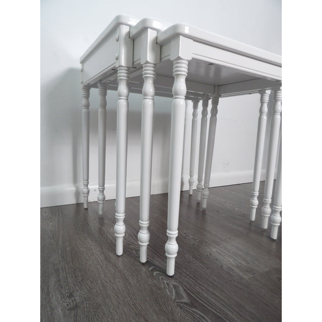 Contmemporary Wood Nesting Tables in Fresh White Lacquer Finish - Set of 3 For Sale - Image 4 of 6