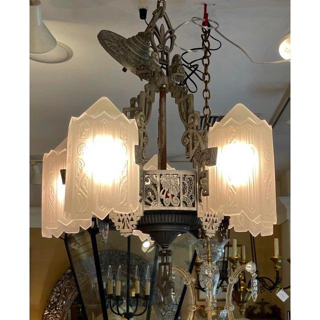 Art Deco Antique Art Deco 5 Light Chandelier For Sale - Image 3 of 7