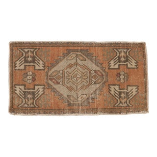 "Vintage Distressed Oushak Rug Mat - 1'8"" X 3'1"" For Sale"