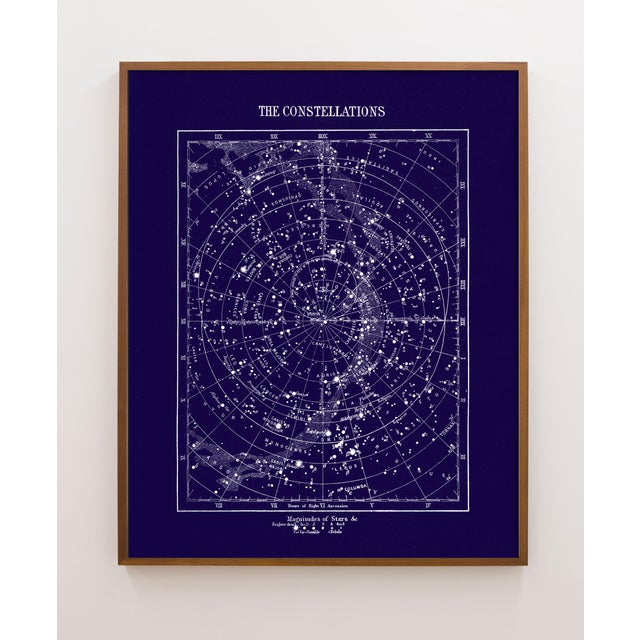 Industrial Vintage Constellations Print With Stars Unframed Blue For Sale - Image 3 of 3