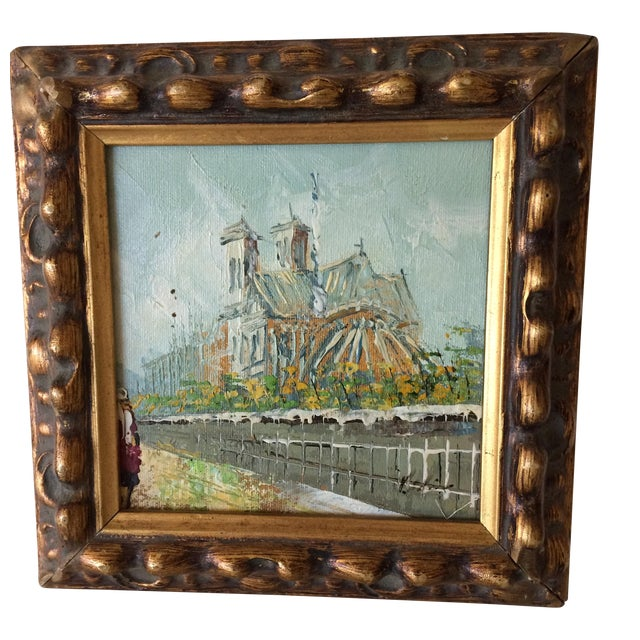 Notre Dame Oil on Canvas Board Painting For Sale
