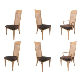 Lane Burl Wood and Cane High Back Dining Chairs- Set of 6 For Sale