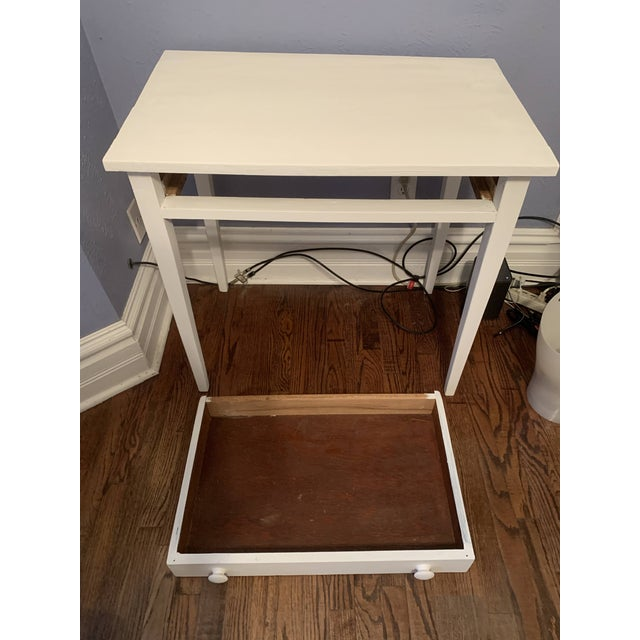 1960s Boho Chic Desk Painted in White Chalk Paint For Sale - Image 11 of 13