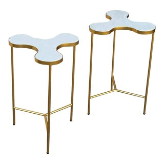 Metal & Marble Side Tables - A Pair